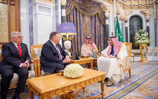 خلال استقبال خادم الحرمين الشريفين الملك سلمان بن عبد العزيز لوزير الخارجية الأمريكي مايك بومبيو