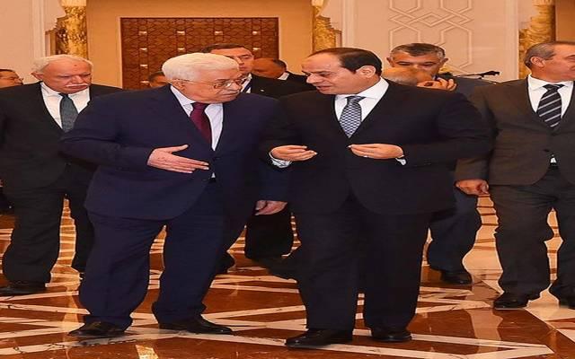 الرئيس السيسي خلال استقبال رئيس السلطة الفلسطينية