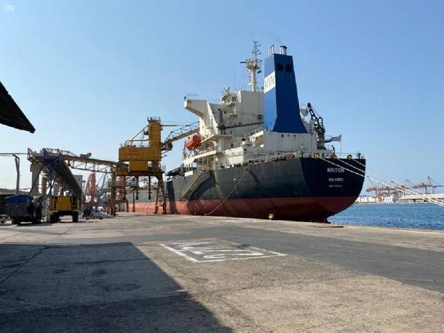Jeddah Islamic Port received the first wheat shipment from Saudi investments overseas today