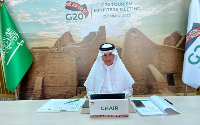وزير السياحة السعودي، أحمد الخطيب، خلال ترؤسه اجتماع وزراء السياحة في مجموعة العشرين