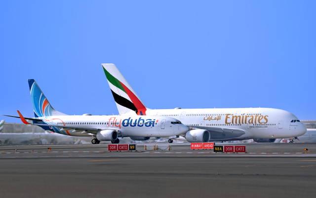 إحدى طائرات شركة فلاي دبي وطيران الإمارات