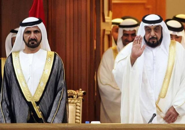 الشيخ خليفة  بن زايد رئيس دولة الإمارات، ونائب الرئيس الشيخ محمد بن راشد حاكم دبي