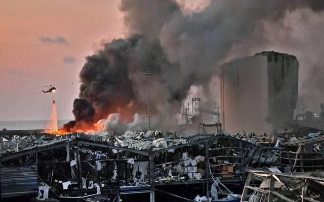 صورة لآثار الانفجار الواقع في بيروت يوم الثلاثاء