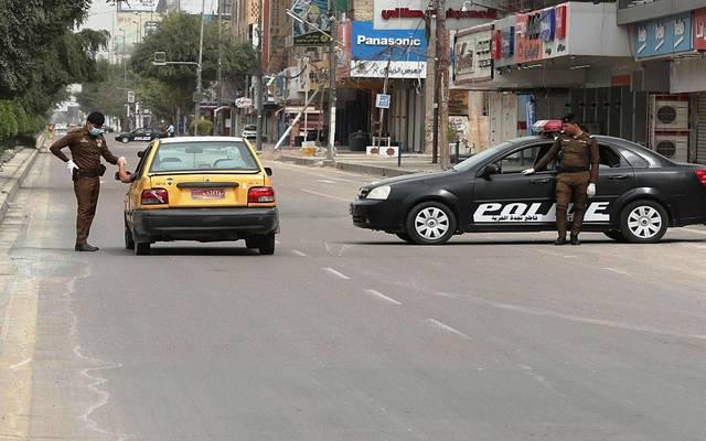 قوات الشرطة العراقية تطبق إجراءات حظر التجوال ـ أرشيفية