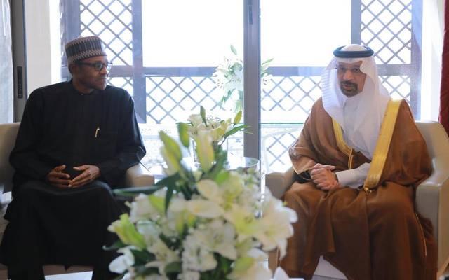 وزير الطاقة السعودي خلال لقاء الرئيس النيجيري في الأردن