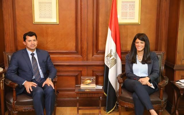 رانيا المشاط وزيرة التعاون الدولي وأشرف صبحي وزير الشباب والرياضة