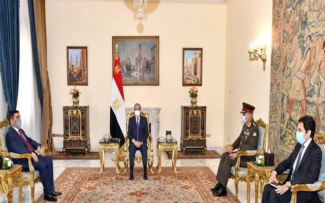 خلال استقبال الرئيس السيسي، وزير دفاع جمهورية العراق