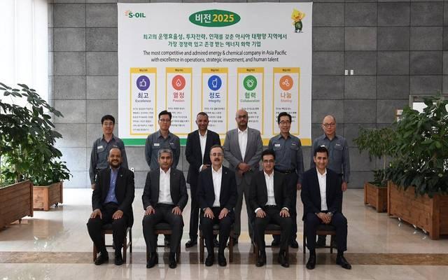 رئيس شركة أرامكو أمين الناصر خلال زيارته إلى شركة إس-أويل في كوريا الجنوبية بعد اكتمال مشروع التوسعة