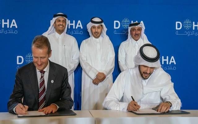 خلال توقيع الاتفاقية بين جهاز قطر للاستثمار وشركة فولكس فاجن