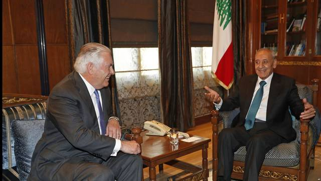 Speaker of the Lebanese Parliament Nabih Berri with US Secretary of State Rex Tillerson