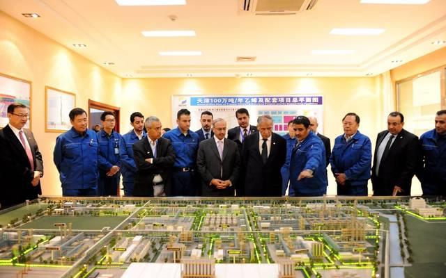"""خلال زيارة رئيس """"سابك"""" عبدالعزيز صالح الجربوع وأعضاء بمجلس الإدارة لمقر الشركة في الصين في أبريل/ نيسان الماضي"""