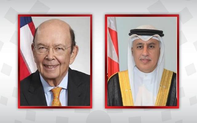 زايد الزياني وزير الصناعة والتجارة والسياحة البحريني وويبلر روس وزير التجارة في الولايات المتحدة الأمريكية
