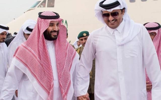 الأمير محمد بن سلمان بن عبدالعزيز والشيخ تميم بن حمد آل ثاني