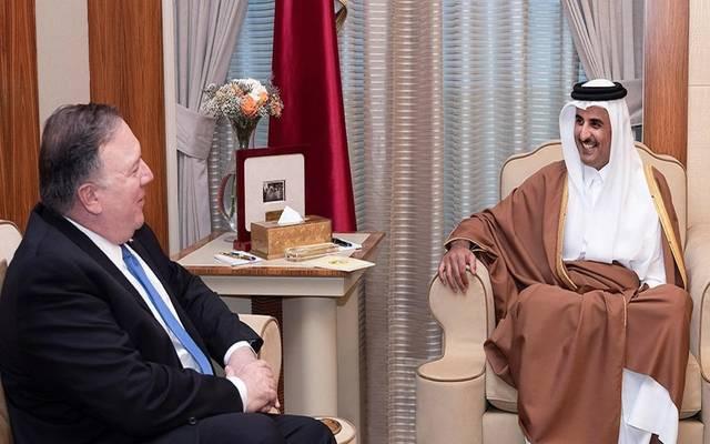 أمير قطر خلال لقاء وزير الخارجية الأمريكي