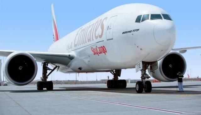 إحدى الطائرات التابعة لشركة الإمارات للشحن الجوي