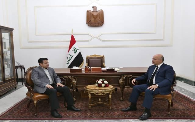 جانب من لقاء الرئيس العراقي مع مستشار الأمن الوطني
