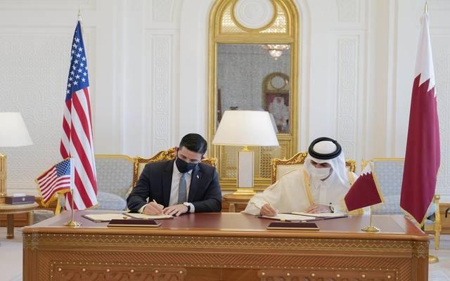 جانب من توقيع مذكرة التفاهم بين الولايات المتحدة وقطر