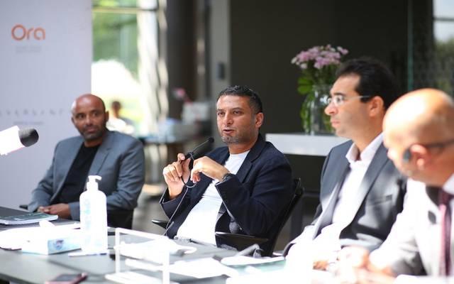 خلال المؤتمر الصحفي لشركة أورا العقارية