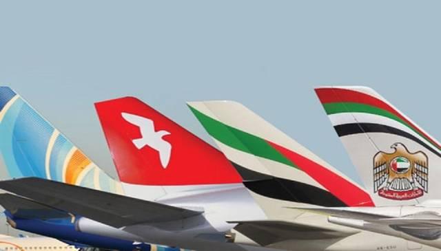 شعار شركات الطيران الأربعة الإماراتية