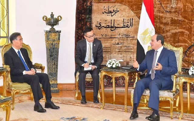 الرئيس عبد الفتاح السيسي خلال لقاء المسؤول الصيني