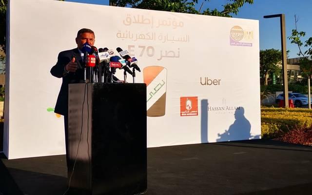 """خلال مؤتمر إطلاق السيارة الكهربائية """"نصر E70"""" بحضور وزيري الكهرباء والصناعة"""