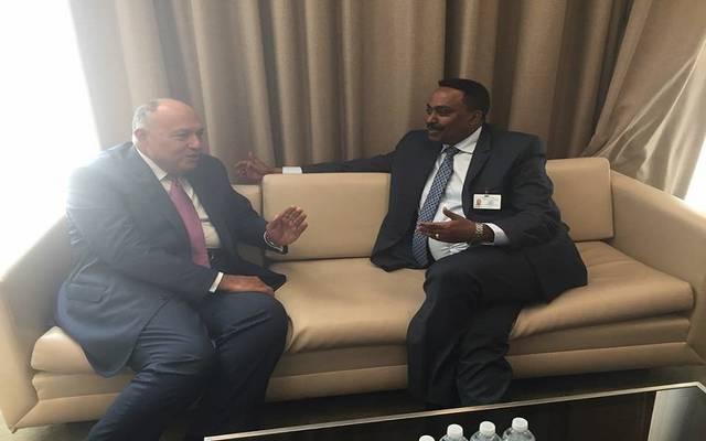 وزير الخارجية سامح شكري خلال اجتماعه مع نظيره الإثيوبي