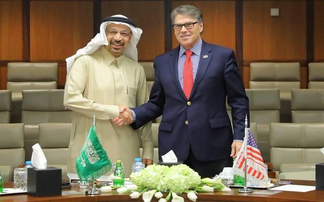 جانب من لقاء وزير الطاقة السعودي خالد الفالح بنظيره الأمريكي اليوم بالظهران