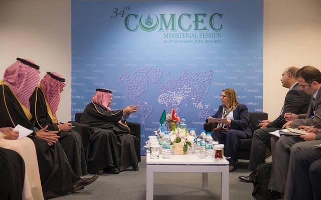 جانب من لقاء وزيري تجارة المملكة العربية السعودية وتركيا