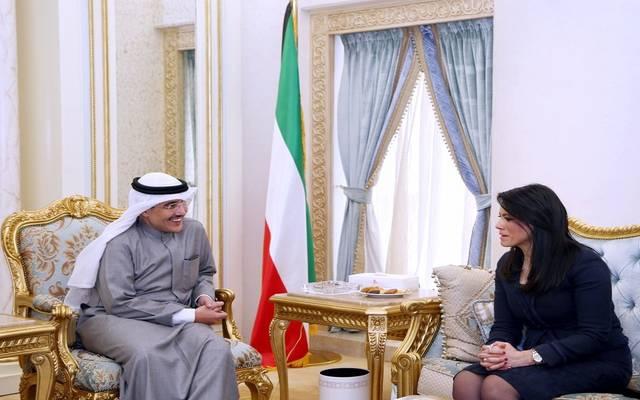 جانب من الاجتماع المشترك بين وزير التعاون الدولي المصرية ورئيس وزراء دولة الكويت