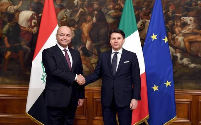 رئيس العراق برهم صالح ورئيس الوزراء الإيطالي جوزيبي كونتي