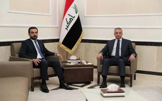 رئيس مجلس النواب العراقي محمد الحلبوسي يستقبل رئيس الوزراء مصطفى الكاظمي