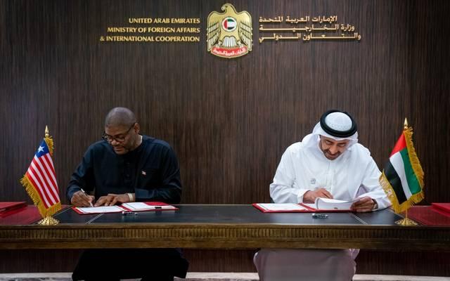 جانب من توقيع الاتفاقية في مقر وزارة الخارجية بالإمارات