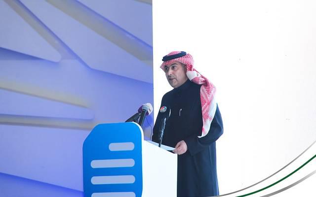 """نائب محافظ مؤسسة النقد العربي السعودي """"ساما"""" أيمن بن محمد السياري خلال حفل تدشين """"سجل"""""""