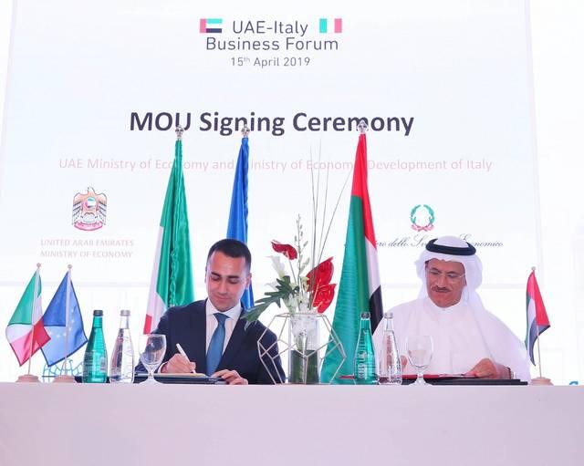 الإمارات توقع مذكرتي تفاهم مع إيطاليا لتعزيز التعاون الاقتصادي
