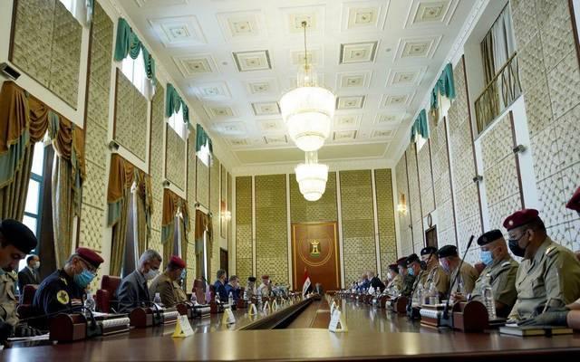 جانب من اجتماع رئيس الحكومة العراقية، مصطفى الكاظمي، مع رئيس وأعضاء مجلس المفوضية العليا المستقلة للانتخابات