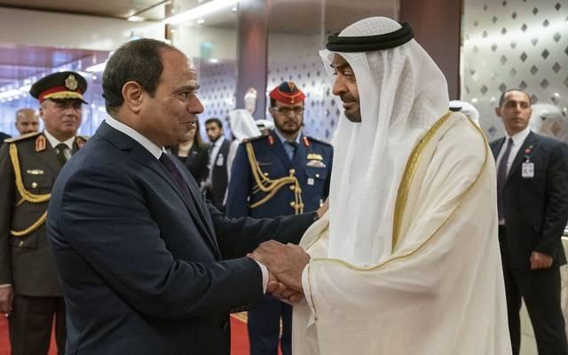 الرئيس المصري عبدالفتاح السيسي مع ولي عهد أبوظبي محمد بن زايد