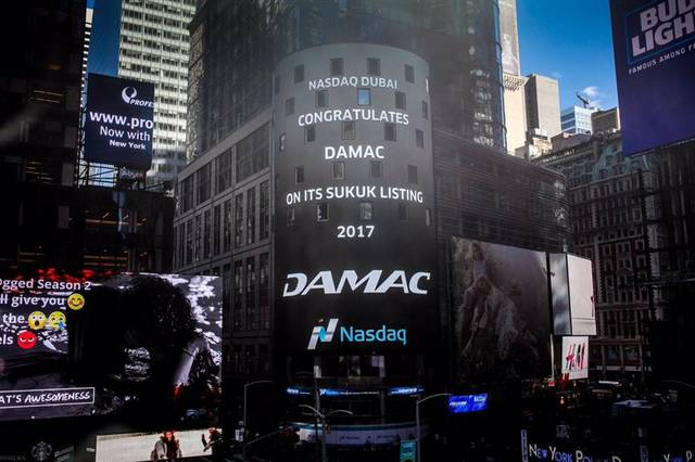 Nasdaq tower image during Damac's listing in April 2017