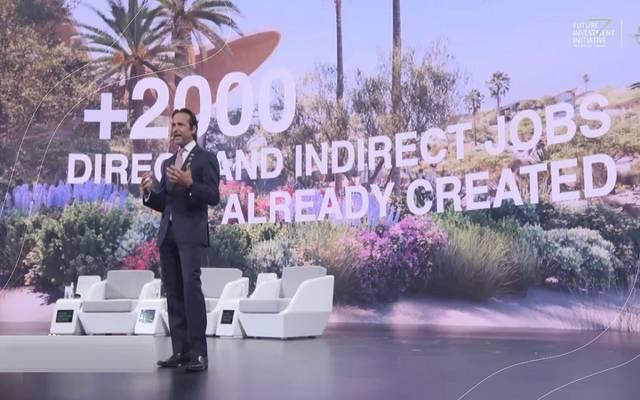 الرئيس التنفيذي للشركة البحر الأحمر للتطوير، ومشروع أمالا السياحي بالسعودية، جون باغانو، خلال كلمته في مبادرة مستقبل الاستثمار