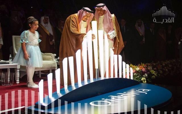 الملك سلمان بن عبدالعزيز يضع حجر الأساس لمشروع القدية - أرشيفية
