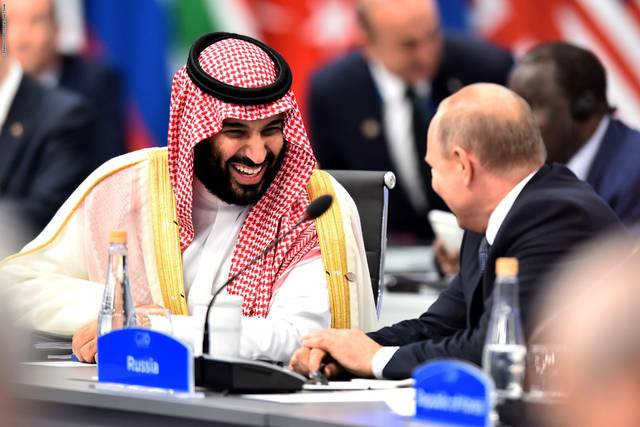 الأمير محمد بن سلمان بن عبدالعزيز آل سعود ولي العهد السعودي مع فلاديمير بوتين الرئيس الروسي