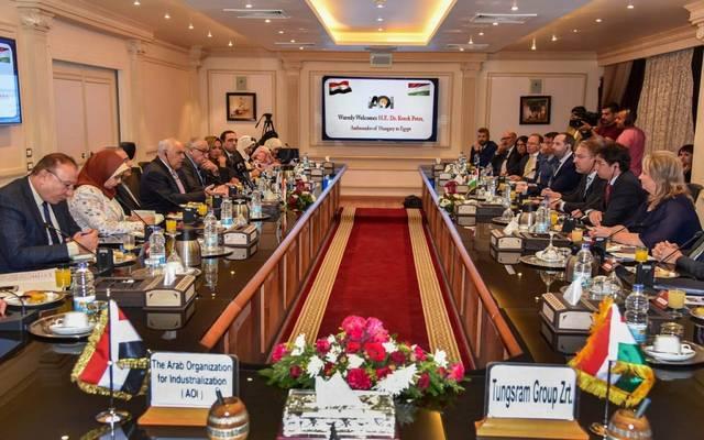 رئيس الهيئة العربية للتصنيع عبدالمنعم التراس أثناء توقيع البرتوكول
