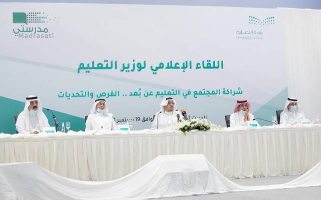 جانب من اللقاء الإعلامي لوزير التعليم السعودي حمد آل الشيخ