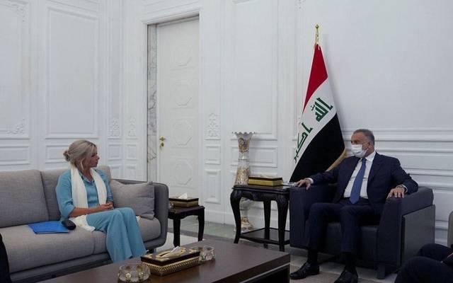 رئيس مجلس الوزراء العراقي، مصطفى الكاظمي، يستقبل الممثلة الخاصة للأمين العام للأمم المتحدة في العراق، جنين هينيس بلاسخارت