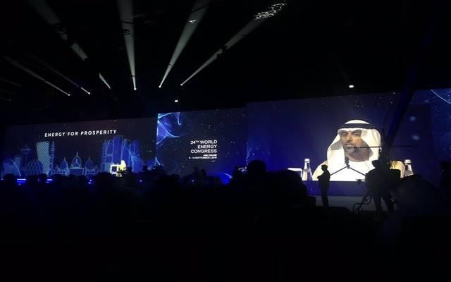 وزير الطاقة الإماراتي سهيل المزروعي خلال مؤتمر الطاقة العالمي في أبو ظبي 2019