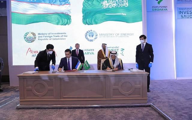 جانب من توقيع اتفاقات تأسيس مشاريع سعودية في أوزباكستان
