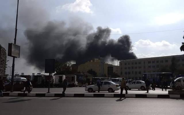 نشوب حريق في محطة مصر بفعل حادث اصطدام قطار