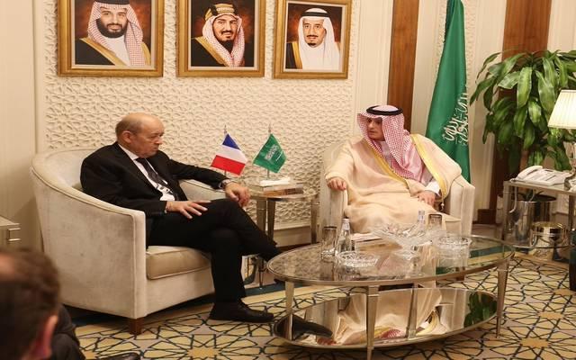 جانب من لقاء وزير الخارجية السعودي، عادل الجبير، بنظيره الفرنسي