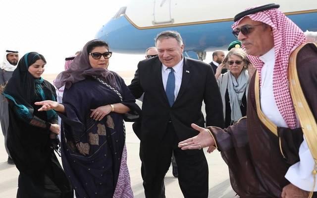 جانب من استقبال وزير الخارجية الأمريكي مايك بومبيو بعد وصوله للسعودية