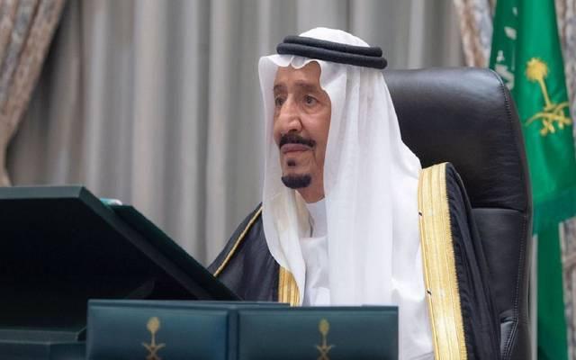 خادم الحرمين الشريفين، الملك سلمان بن عبدالعزيز آل سعود خلال اجتماع مجلس الوزراء