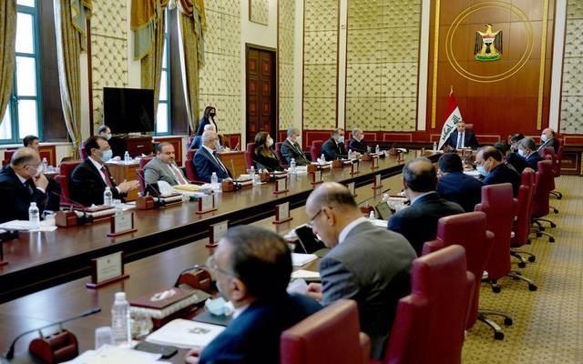 جانب من اجتماع الحكومة العراقية برئاسة رئيس الوزراء مصطفى الكاظمي